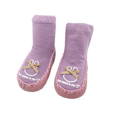 SOIMISS Meias de bebê Bowknot Meias de sapatos de criança de desenho animado Meias de fundo macio Meias de algodão antiderrapantes Meias de chão para bebê de 11 jardas (roxo)