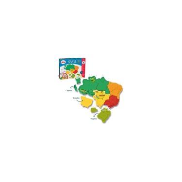 Imagem de Brinquedo Mapa Brasil Montar Quebra-cabeça 3d Plástico Elka