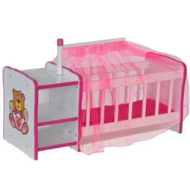 Imagem de Berço Para Boneca Cristal Ursinho Brinquedo Infantil Criança - Lyam De
