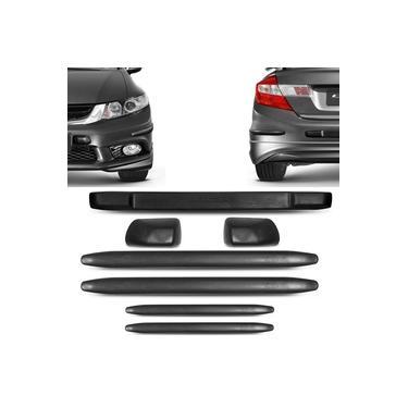Kit Protetor De Para-choque Dianteiro E Traseiro Honda New Civic 2010 A 2016 Preto 7 Peças