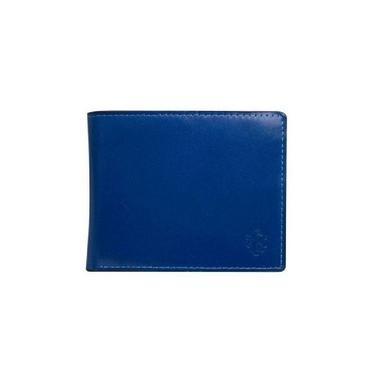 Carteira Masculina Polo Colors Couro Mestiço Azul/marinho