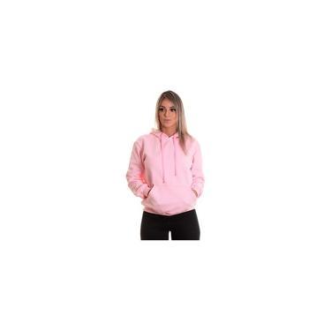 Moletom Liso Feminino Blusa De Frio Canguru Rosa