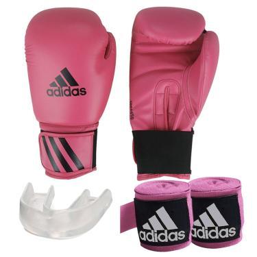 0dd82fa39 Kit Boxe Speed 50 Adidas + Band + Bucal Rosa 16oz