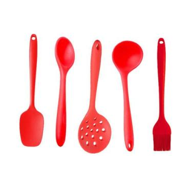 Kit Colher Concha Pincel 5 Utensílios de Silicone Vermelho - Rbc