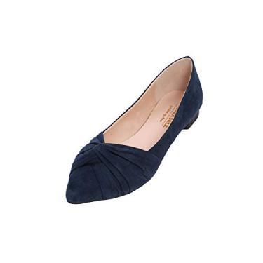 Sapatilha balé feminina Feversole bico fino com acabamento em laço, X Bow Navy, 7.5