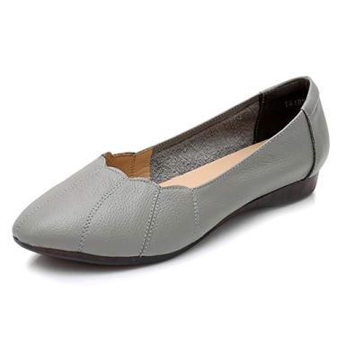 Odema Mocassim feminino de bico fino, moderno, sem cadarço, sapatilhas, para caminhada, Cinza, 5.5
