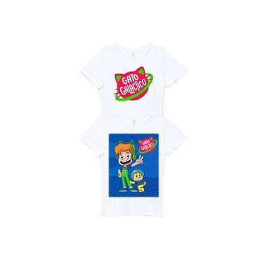 Roupa De Criança Camiseta Infantil Gato Galactico Kit 2 peças