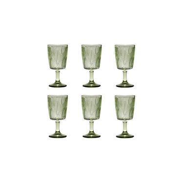 Taça de Vidro Leaves Verde 6 peças Bon Gourmet