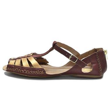 Sandália Sem Salto em Couro Feminino QQ 710 Marrom Bronze 34