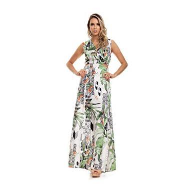 Vestido Clara Arruda Longo Detalhes Lateral 50476-38 - Folhagem Off White