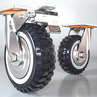Imagem de Roda de rodízio industrial CAETNY 5 polegadas Rodas de placa superior para serviço pesado Veias de pneu Rolamento de esferas Roda giratória giratória de 4 unidades para bancada, carrinho