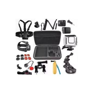 Kit 8 Black Completo Com Acessórios E Suportes Caixa Estanque Películas Mala Bastão 3 Way Ventosa Pulso