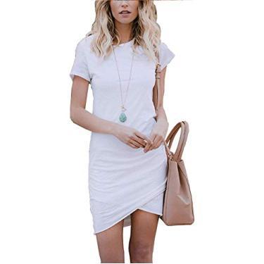 Imagem de Vestidos de camiseta para mulheres – Mini vestidos justos com corte tulipa e franzido, Branco, Medium