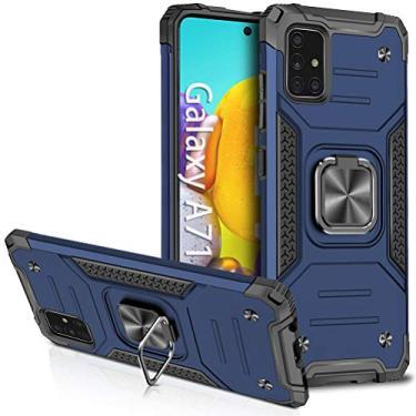 Hicaseer Capa para Galaxy A71, capa fina e macia de TPU antiqueda + capa protetora rígida de policarbonato antiarranhões com rotação de 360° capa de suporte magnético para carro para Samsung Galaxy A71 - azul