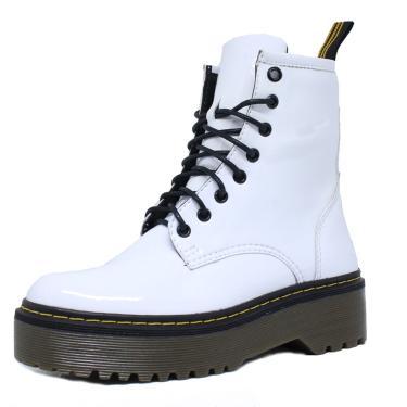 Imagem de Bota Coturno Tratorado Verniz Dia a Dia Embora Footwear Branco  feminino