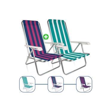 Kit 2 Cadeira De Praia Alumínio Mor Reclinavel 4 Posições Sortida