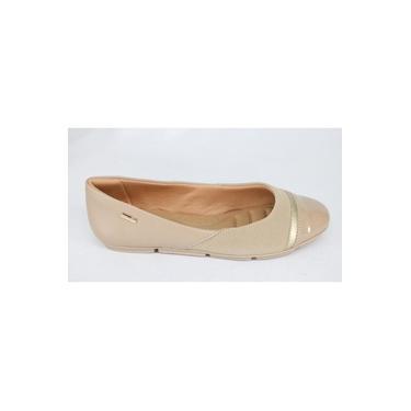 Sapatilha Comfortflex Casual Salto Baixo Avelã Dourado