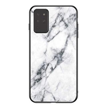 Hicaseer Capa para Galaxy Note 20, estampa de mármore, antiqueda, antichoque, antiarranhões, capa de vidro de TPU (poliuretano termoplástico) para Samsung Galaxy Note 20 de 6,5 polegadas, branca