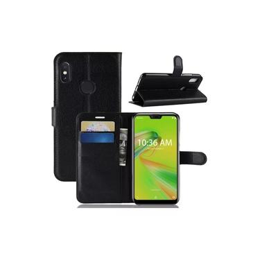 Capa Carteira Flip Antishock Porta Cartão P/ Asus Zenfone Max Shot Max Plus ZB634KL (Preta)