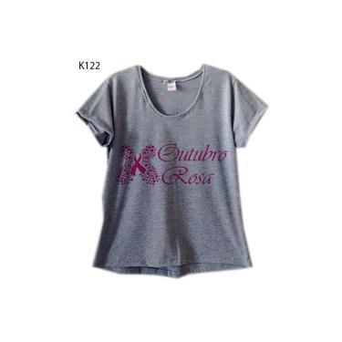 Blusa Feminina Cinza Plus Size Outubro Rosa Borboleta K122