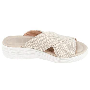 Dheera Sandálias de elástico cruzadas, plataforma de praia casual ortopédica sem cadarço confortável e suporte sandálias de absorção de choque para mulheres