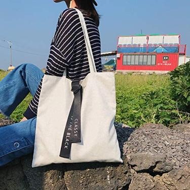 AWFAND Sacolas de compras de algodão, reutilizáveis e dobráveis sacolas ecológicas de lona, bolsa casual de ombro para estudantes, Branco