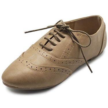 Ollio sapato feminino clássico com cadarço salto baixo Oxford, Taupe, 7