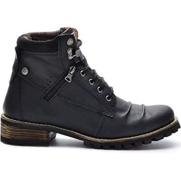 Coturno Casual Masculino Preto Boots 775 Em Couro Legitimo Salto Madeira Cor:Preto;Tamanho:38