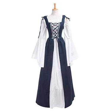 soAR9opeoF Women's Casual Maxi Dress Women's Vintage Cocktail Party Swing Dress,Vintage Women Medieval Square Neck Slim Waist Lace Bandage Maxi Dress Costume Dark Blue XXXL