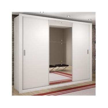 19f255c3f Guarda Roupa Casal com Espelho 3 Portas de Correr Luna Rufato Branco