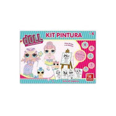 Imagem de Kit Pintura Infantil Para Colorir Com Cavalete e Tintas Doll