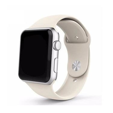 Pulseira Sport em Silicone para relógio Apple Watch 42mm Series 3 2 1 (Branco Antigo 42mm ML)