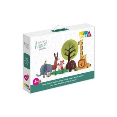 Imagem de Brinquedo Educativo Quebra-cabeça 3d Animais Criativo Savana Menino Menina 3 Anos Trabalha Coordenação Motora
