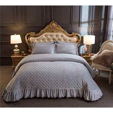 Imagem de PJPPJH Colcha de veludo cristal, 3 peças, roupa de cama dupla Queen King Size macia e confortável, conjunto de colcha, roxo-250x250+48x74x2
