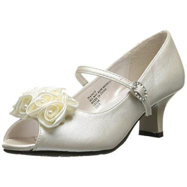 Sapato social feminino Peep Toe da Swea Pea & Lilli com flores de cetim, Marfim, 13 Little Kid