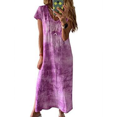 Vestido longo casual de manga curta com decote em V e estampa tie dye, Roxa, L