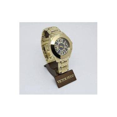 afb8ab8a7c7 Relógio Victor Hugo Vh10131 30m Dourado Fundo Preto