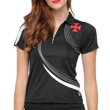 Camisa Polo Feminina Baby Look Vasco da Gama Logo Lateral Oficial
