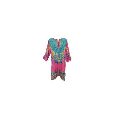 Estilo étnico estampado floral Bohemia vestido elegante senhora verão praia casual wear