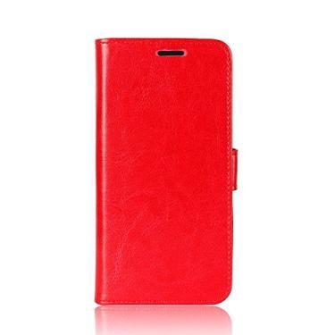 Zl One Compatível com/Substituição para Capa de telefone Lenovo K8 Note Couro PU Proteção Cartão Slots Capa carteira Flip Case (Vermelho)