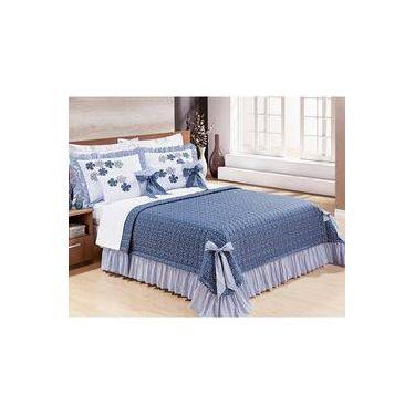 cc35f75bf0 Colcha King Doce Lar 7 Peças 100% algodão Tecido Percal 150 Fios - Azul