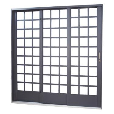 Porta de Correr Aço 3 Folhas Minas Sul MGM 215cmx200cm Primer