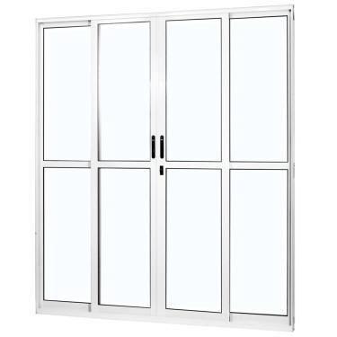 Porta de Correr Alumínio 4 Folhas com Vidro Liso Sólida MGM 210cmx160cm Branco