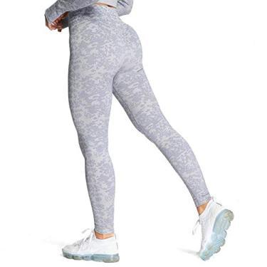 Calça legging feminina Aoxjox para ioga para treino, cintura alta, academia, esportes, camuflagem, sem costura, Lilac Grey, S