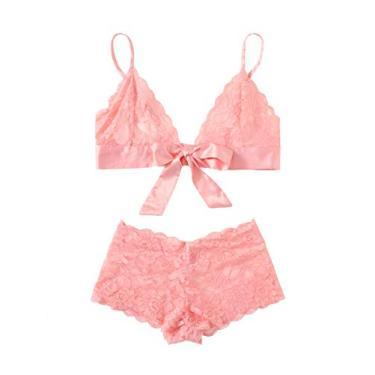 Conjunto de lingerie feminina da SweatyRocks com alça de renda floral e sutiã e calcinha Sey, rosa, S