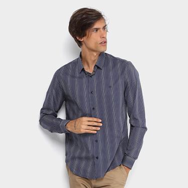 Camisa Calvin Klein Slim Fit Listras Masculina - Masculino 06fe0d54881