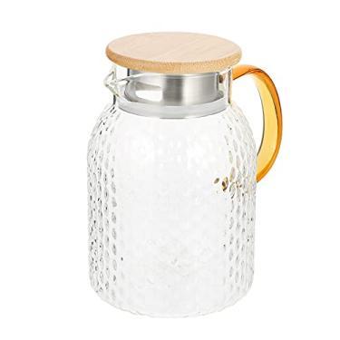 Imagem de Yardwe Jarra De Vidro Transparente Com Tampa De Madeira Chá Gelado Jarro de Água Jarro de Suco E Chá Gelado Garrafa Da Bebida 1.4L