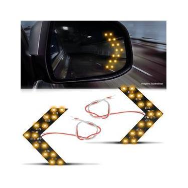 Par Lâmpada 14 LEDs 1 Polo Espelho Retrovisor Pisca Seta Luz Amarela