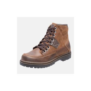 Bota Coturno Em Couro Mega Boots 6029 Taupe-cafe  masculino