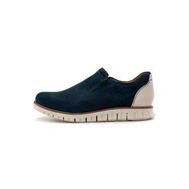 Sapato Casual Masculino Oregon em Couro Nobuck Jeans / Gelo